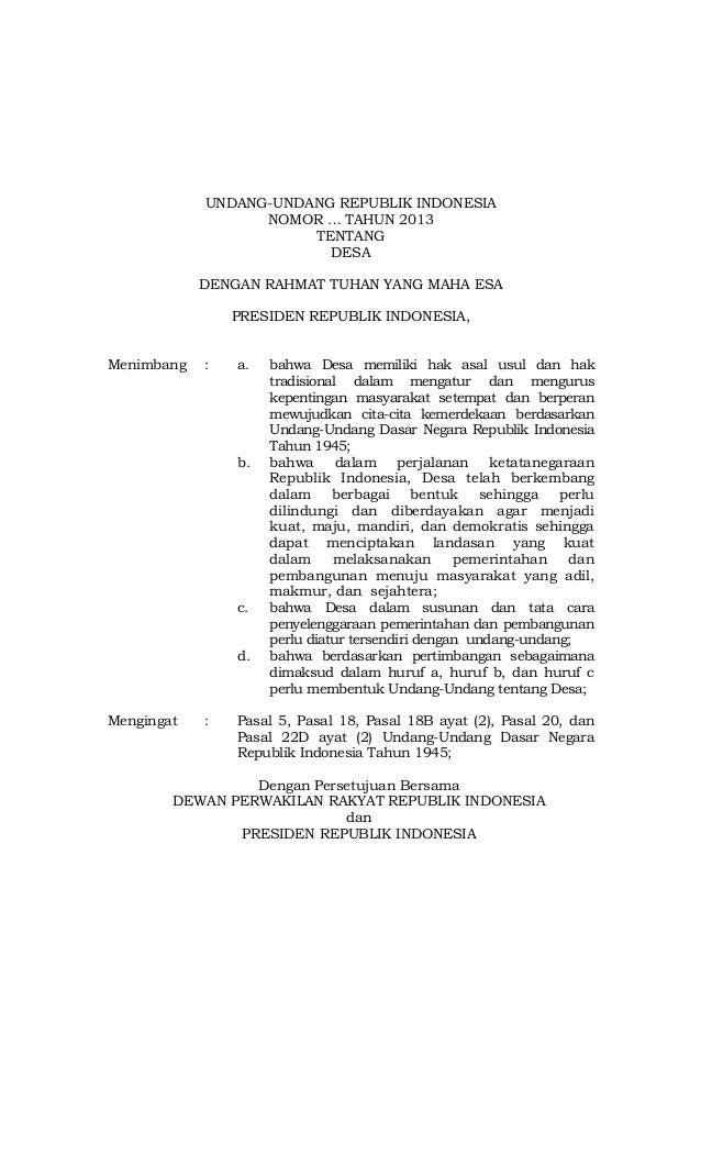 Menimbang  Mengingat  UNDANG-UNDANG REPUBLIK INDONESIA  NOMOR  TAHUN 2013 TENTANG DESA  DENGAN RAHMAT TUHAN YANG MAHA ESA ...