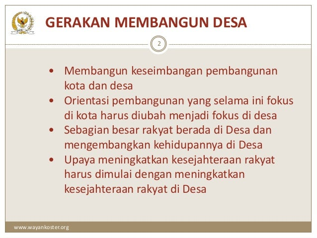 UU desa no 6 th 2014 Dr. Ir. Wayan Koster, MM.
