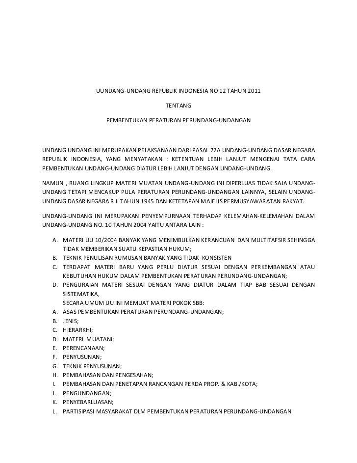UUNDANG-UNDANG REPUBLIK INDONESIA NO 12 TAHUN 2011                                     TENTANG                   PEMBENTUK...