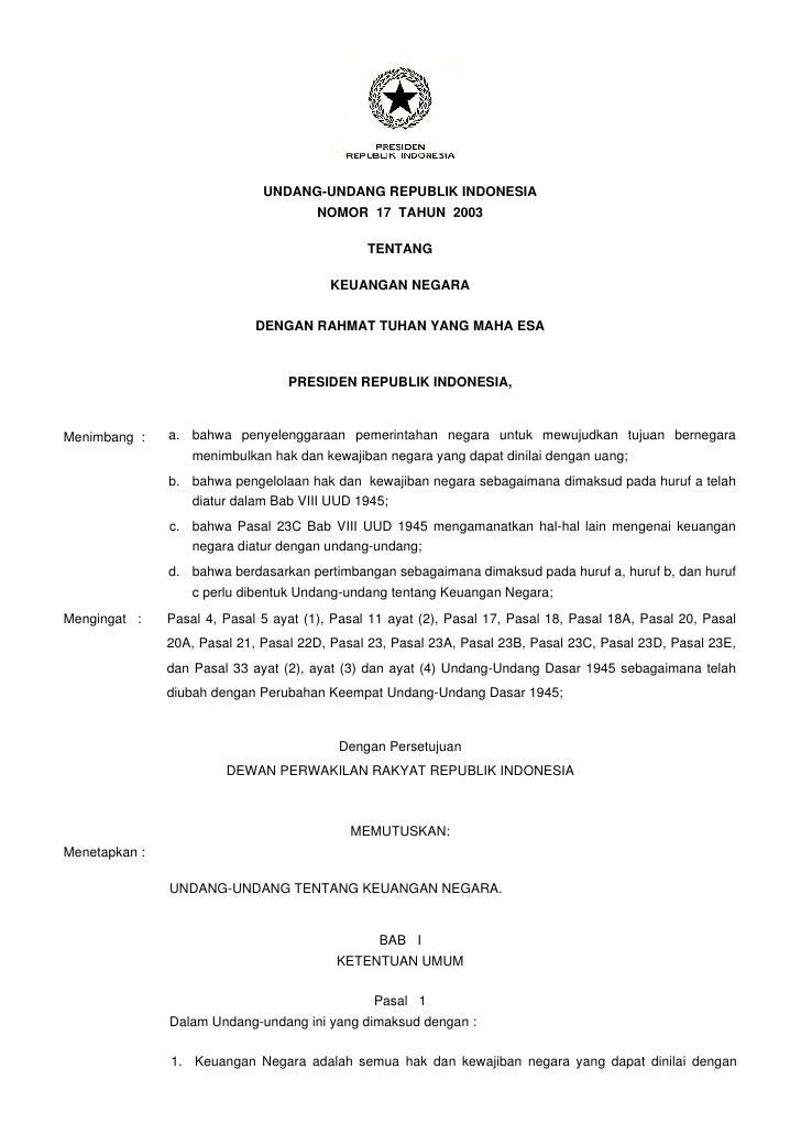 UNDANG-UNDANG REPUBLIK INDONESIA                                        NOMOR 17 TAHUN 2003                               ...
