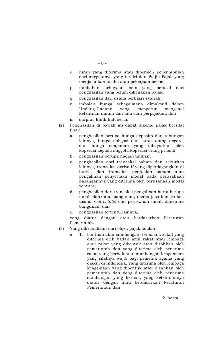 UU th 2008 No 36 Pajak Penghasilan - Batang tubuh