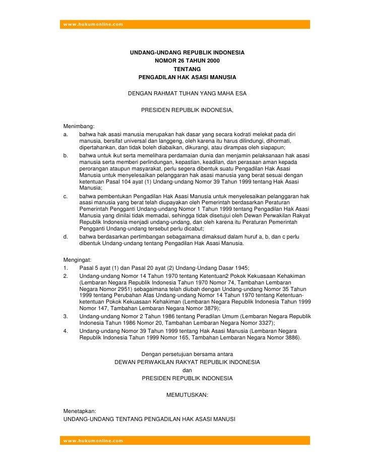 www.hukumonline.com                              UNDANG-UNDANG REPUBLIK INDONESIA                                NOMOR 26 ...