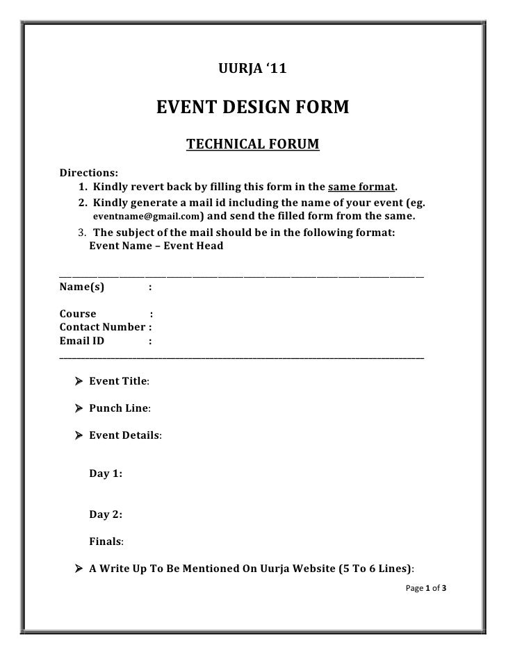 Uurja event design form