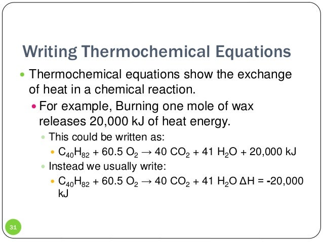 Unit 11 thermochemistry