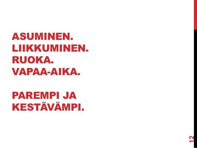 ASUMINEN. LIIKKUMINEN. RUOKA. VAPAA-AIKA. PAREMPI JA KESTÄVÄMPI.  12