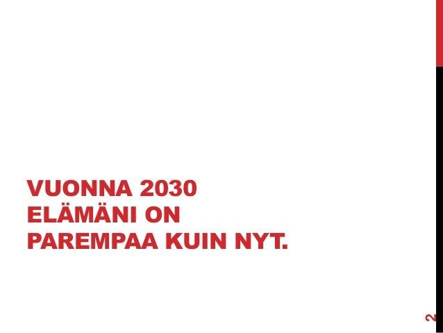 VUONNA 2030 ELÄMÄNI ON PAREMPAA KUIN NYT.  2