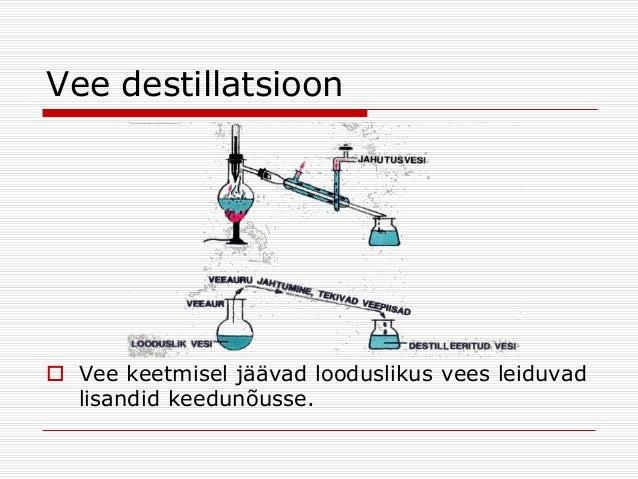 Vee destillatsioon  Vee keetmisel jäävad looduslikus vees leiduvad lisandid keedunõusse.