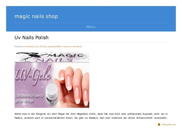 magic nails shop                                                                MenuUv Nails PolishPosted on February 22, ...