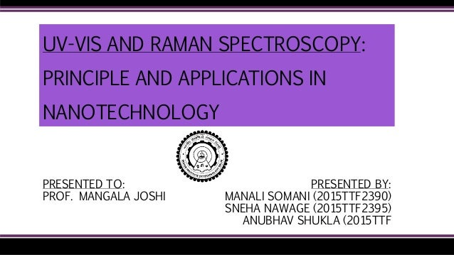 UV-VIS AND RAMAN SPECTROSCOPY: PRINCIPLE AND APPLICATIONS IN NANOTECHNOLOGY PRESENTED BY: MANALI SOMANI (2015TTF2390) SNEH...