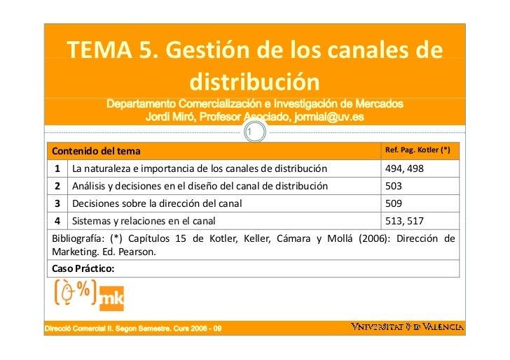 TEMA5.Gestióndeloscanalesde       TEMA 5. Gestión de los canales de                 distribución                   ...