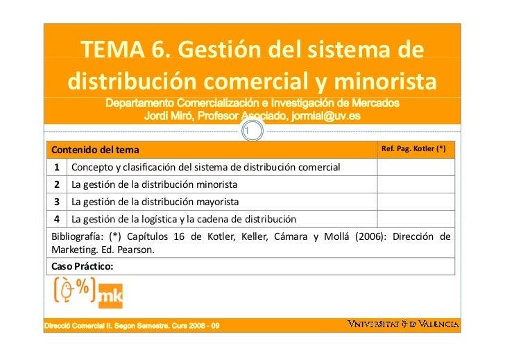 TEMA6.Gestióndelsistemade        TEMA 6. Gestión del sistema de       distribucióncomercialyminorista            ...