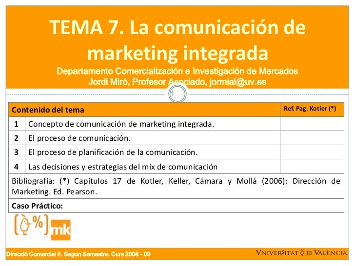TEMA 7. La comunicación de                   marketing integrada                   Departamento Comercialización e Investi...