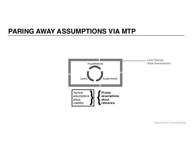 Copyright 2014 Cowan Publishing PARING AWAY ASSUMPTIONS VIA MTP Tactical assumptions about usability Pivotal assumptions a...