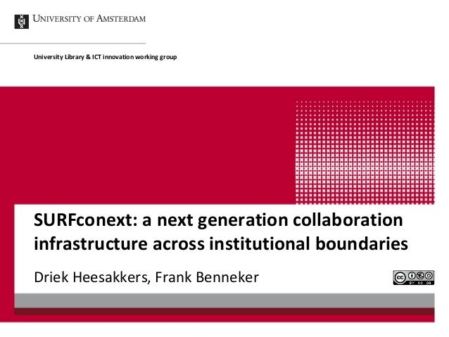 University Library & ICT innovation working groupSURFconext: a next generation collaborationinfrastructure across institut...