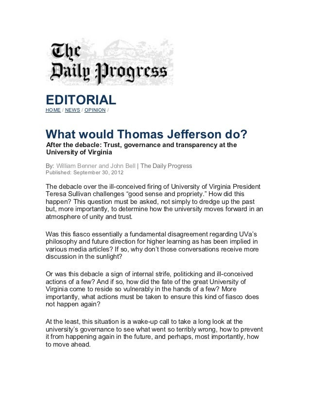 Uva Editorial Letter The Daily Progress September