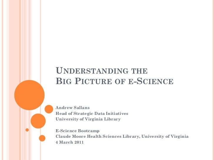 UNDERSTANDING THEBIG PICTURE OF E-SCIENCEAndrew SallansHead of Strategic Data InitiativesUniversity of Virginia LibraryE-S...
