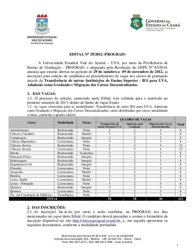 EDITAL No 29/2012 (PROGRAD)                   A Universidade Estadual Vale do Acaraú – UVA, por meio da Pró-Reitoria de   ...