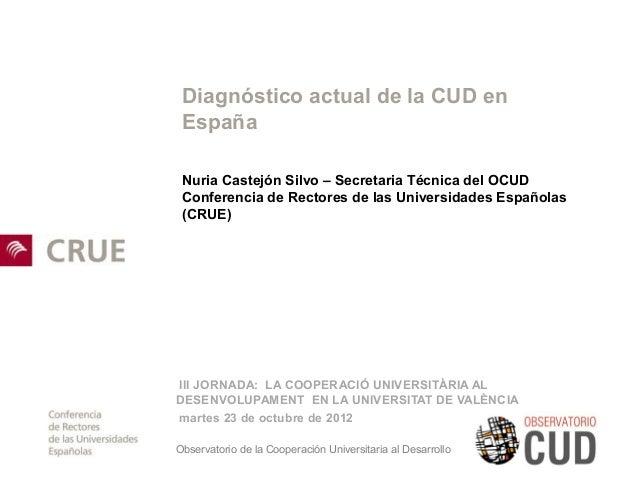 Diagnóstico actual de la CUD en España Nuria Castejón Silvo – Secretaria Técnica del OCUD Conferencia de Rectores de las U...