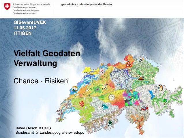 GISeventUVEK 11.05.2017 ITTIGEN Vielfalt Geodaten Verwaltung Chance - Risiken David Oesch, KOGIS Bundesamt für Landestopog...
