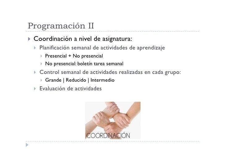 Programación II  Coordinación        a nivel de asignatura:     Planificación semanal de actividades de aprendizaje   ...