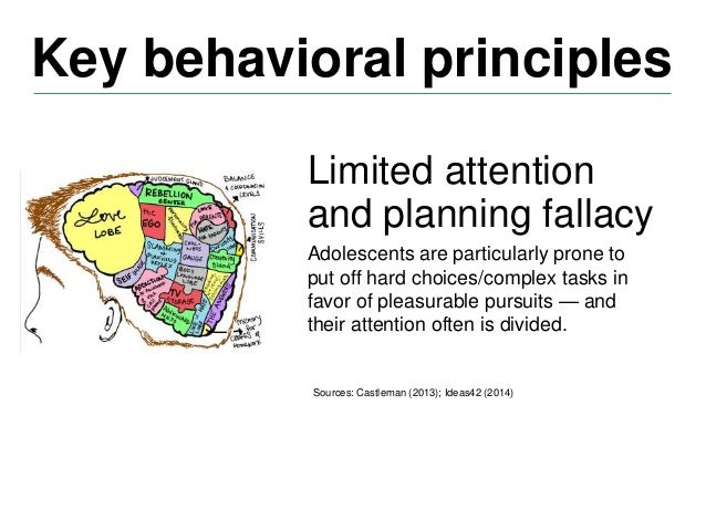 Key behavioral principles But adults also procrastinate when faced with complexity. Sources: Castleman (2013); Ideas42 (20...