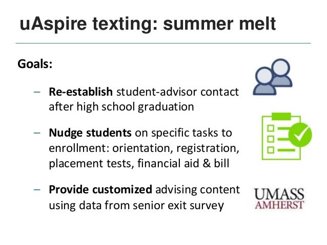 uAspire texting: summer melt Text messaging to support the high school to college transition 2012: Piloted text messaging ...