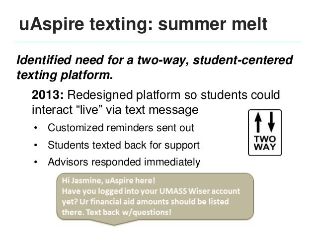 uAspire texting: summer melt Customized content based on student data: Student City Data Intended College Data Student Cit...
