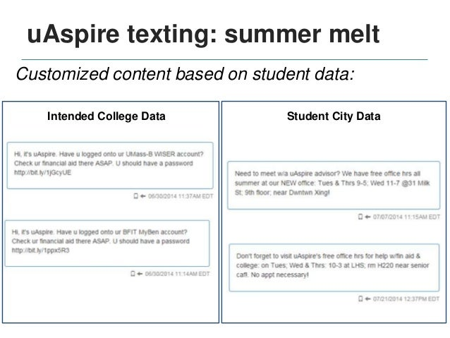 uAspire texting in practice Do students engage? Yes! Real responses: • I do need help. How do I file a loan? • Yes, thank ...