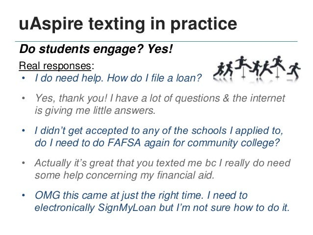 But can advising happen via text? Yes! uAspire texting in practice