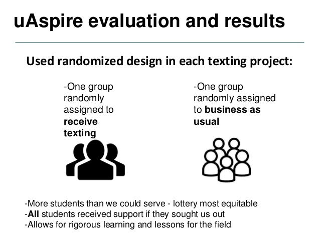 uAspire evaluation and results Text messaging during the summer statistically increased on-time college enrollment by 7 pe...