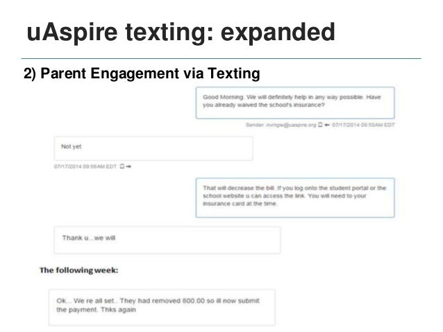 Continued Summer Melt texting • uAspire will bring texting program to our new Bay Area site in summer 2015 Community Colle...