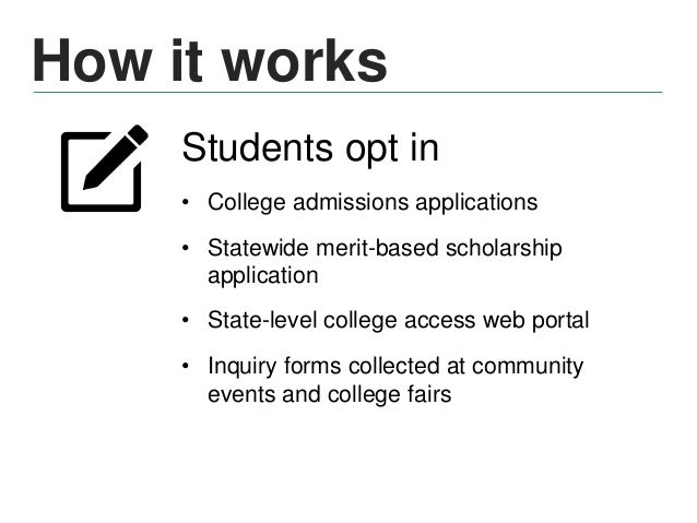Opt-in model Potential data collection points: • Applications – College admissions – Scholarship programs • Events – Durin...