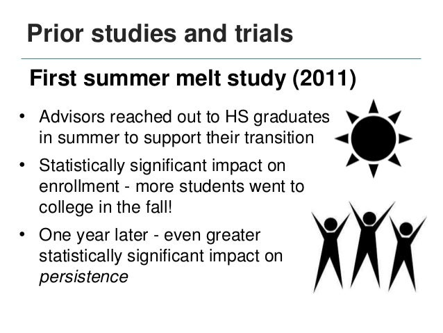 Prior studies and trials • Advisors reached out to HS graduates in summer to support their transition • Statistically sign...