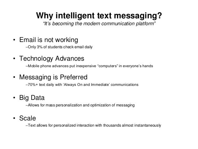 """Text Messages Go Out • """"Program"""" of scheduled messages • Personalized for each student –Campus- and task- specific content..."""