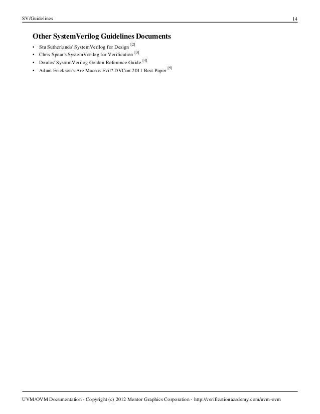 uvm cookbook systemverilog guidelines verification academy rh slideshare net SystemVerilog Syntax SystemVerilog Tutorial PDF