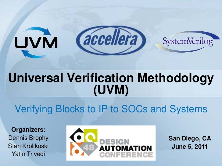 Universal Verification Methodology               (UVM)  Verifying Blocks to IP to SOCs and Systems Organizers:Dennis Broph...