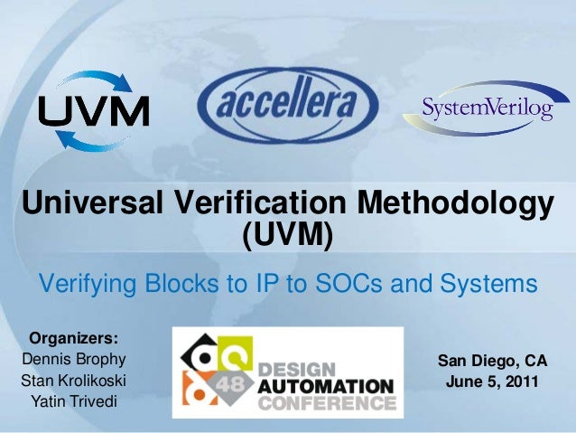 Universal Verification Methodology(UVM)Verifying Blocks to IP to SOCs and SystemsOrganizers:Dennis BrophyStan KrolikoskiYa...