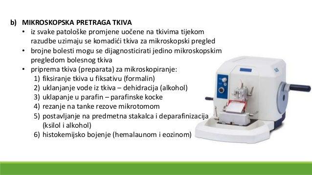 Priprema preparata za mikroskopiranje a) parafinska kocka sa tkivom koja se reže na tanke listiće mikrotomom b) mikroskops...