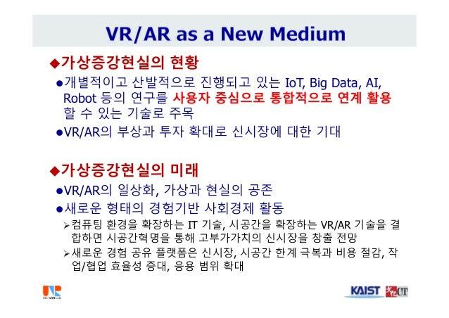 가상증강현실의 현황 개별적이고 산발적으로 진행되고 있는 IoT, Big Data, AI, Robot 등의 연구를 사용자 중심으로 통합적으로 연계 활용 할 수 있는 기술로 주목 VR/AR의 부상과 투자 확대로 신시장...