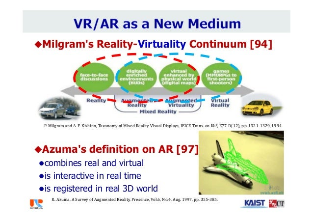 Milgram's Reality-Virtuality Continuum [94] Azuma's definition on AR [97] combines real and virtual is interactive in ...
