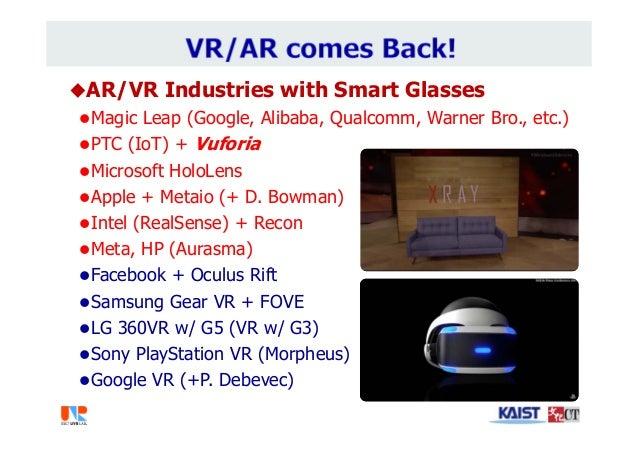 AR/VR Industries with Smart Glasses Magic Leap (Google, Alibaba, Qualcomm, Warner Bro., etc.) PTC (IoT) + Vuforia Micr...