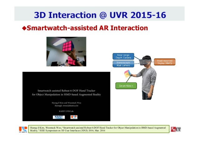 """Smartwatch-assisted AR Interaction Hyung-il Kim, Woontack Woo, """"Smartwatch-assisted Robust 6-DOF Hand Tracker for Object ..."""