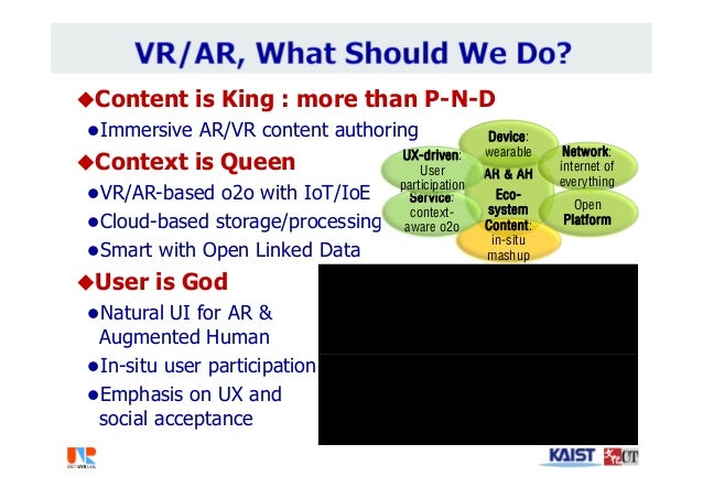 Content is King : more than P-N-D Immersive AR/VR content authoring Context is Queen VR/AR-based o2o with IoT/IoE Clo...
