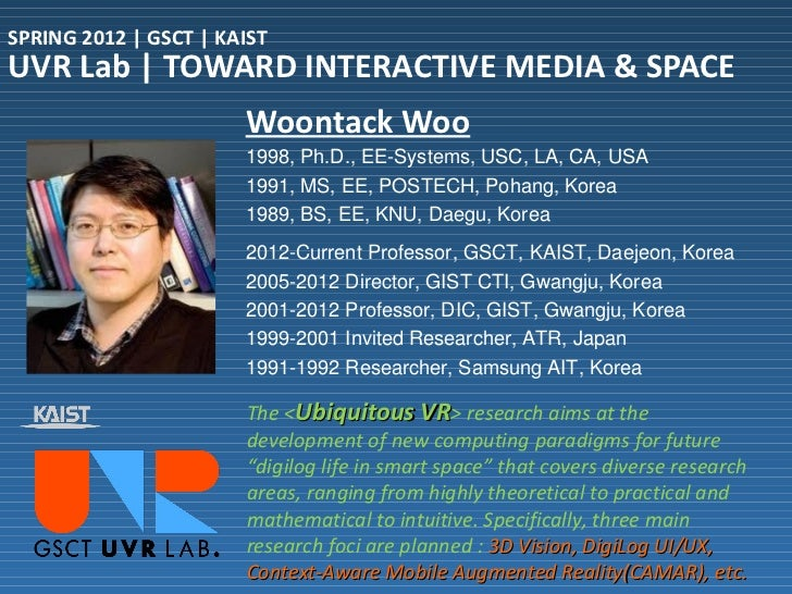 SPRING 2012 | GSCT | KAISTUVR Lab | TOWARD INTERACTIVE MEDIA & SPACE                       Woontack Woo                   ...