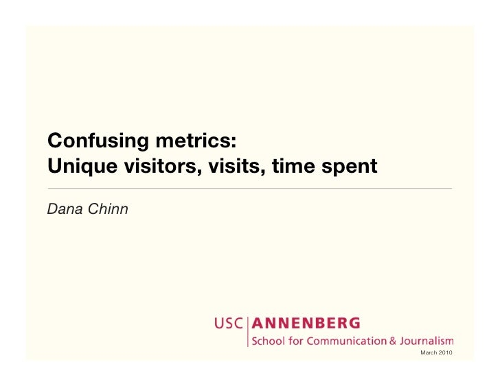 Confusing metrics: Unique visitors, visits, time spent Dana Chinn                                           March 2010