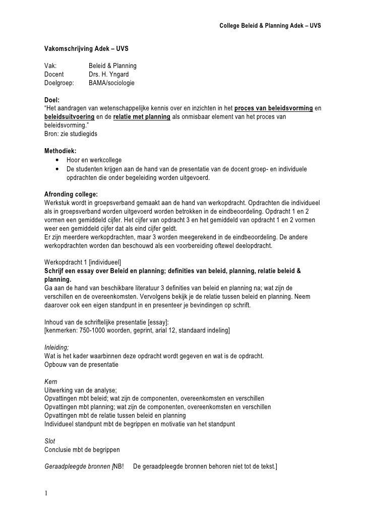 College Beleid & Planning Adek – UVS; jr 09/10   Vakomschrijving Adek – UVS  Vak:                     Beleid & Planning Ac...