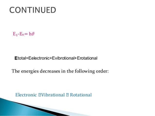 E₁-E = h𝜗ₒ Etotal=Eelectronic+Evibrotional+Erotational The energies decreases in the following order: Electronic ⪢Vibratio...
