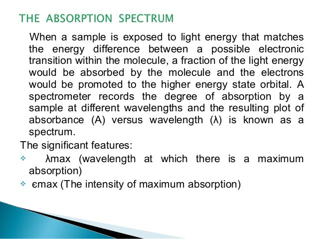 When a sample is exposed to light energy that matches the energy difference between a possible electronic transition withi...