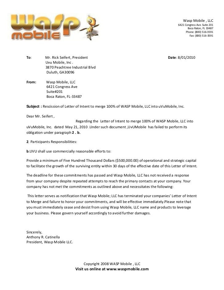 Rescission Of Letter Of Intent To Merge  Of Wasp Mobile Llc Into