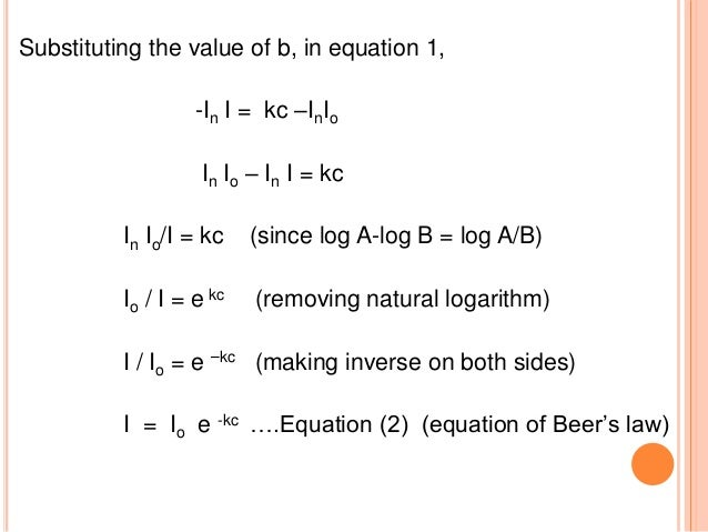 DEVIATION FROM THE BEER'S LAW  Beer's law: it states that if we plot absorbance A against concentration C a straight line...